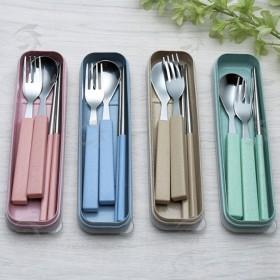 小麥+不鏽鋼三件餐具組